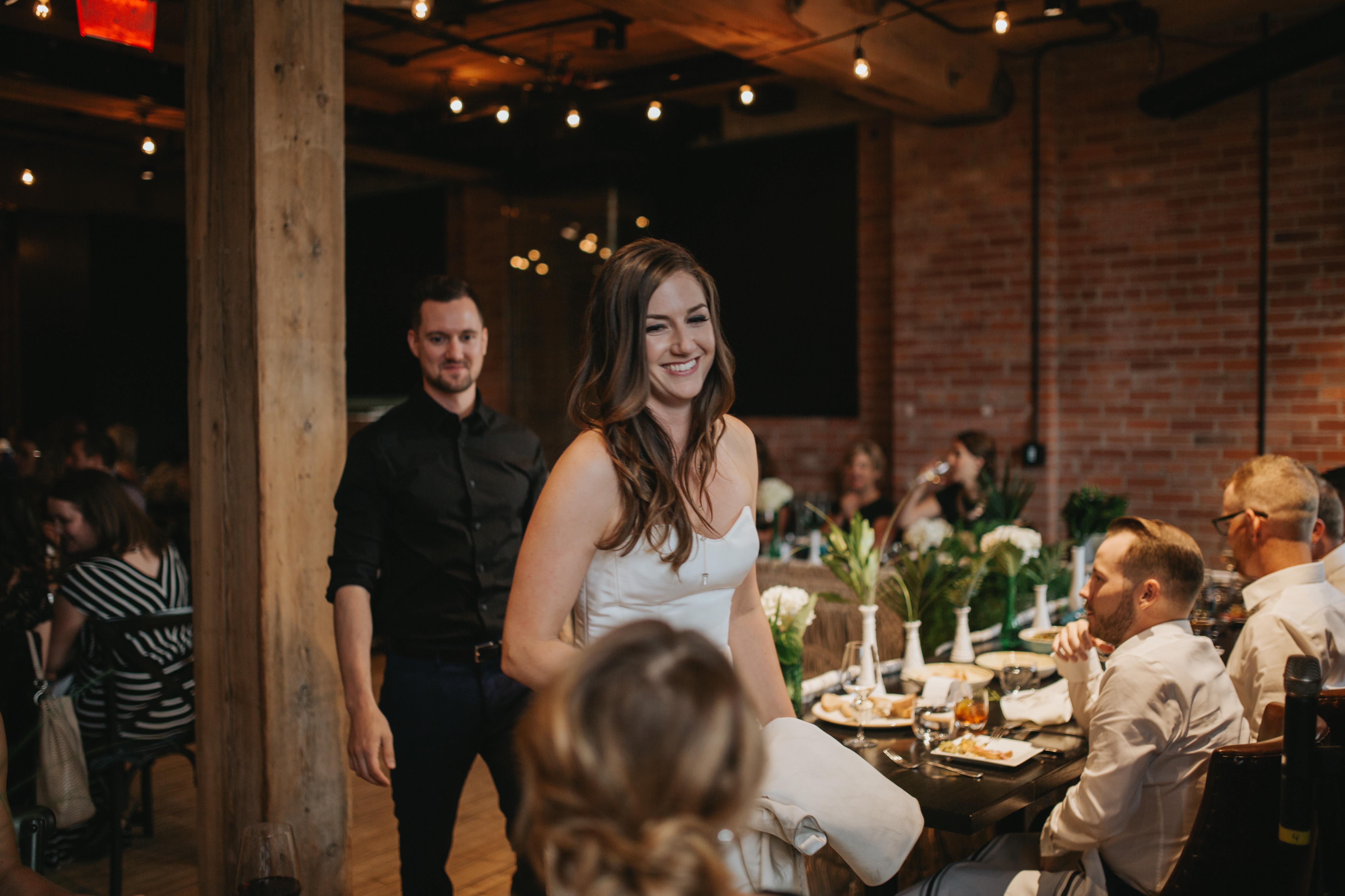 industrial charbar wedding reception