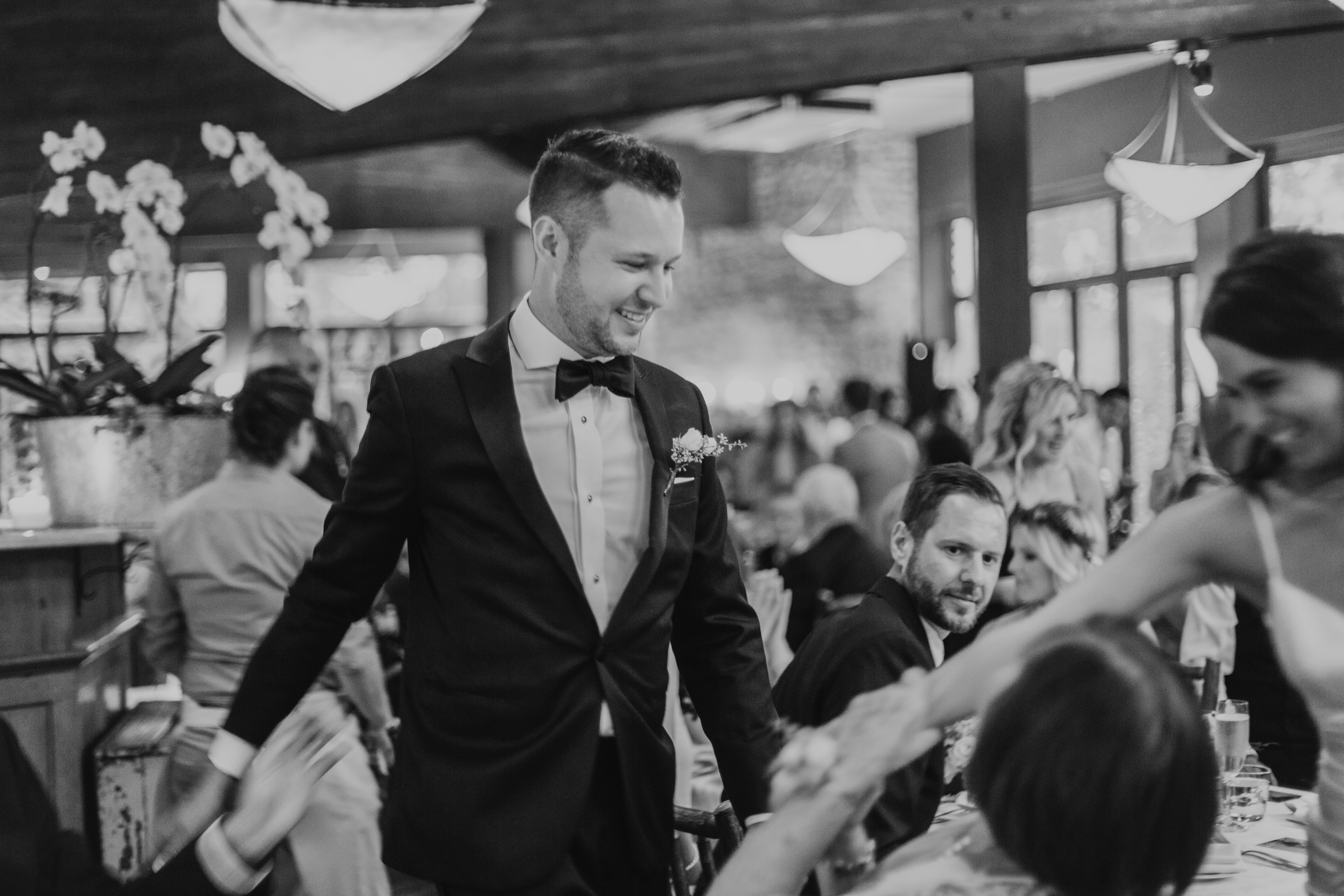 the groom enters the reception