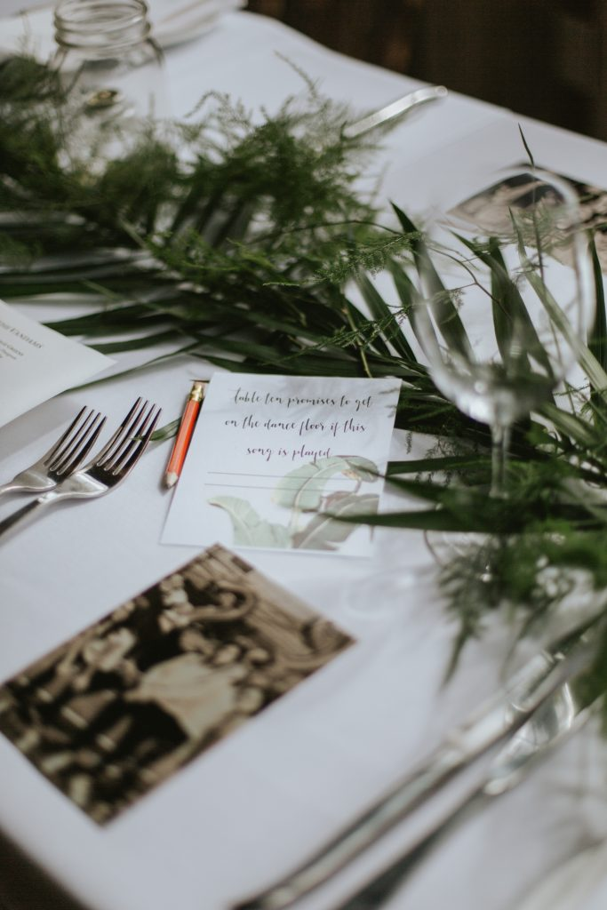 greenery inspired reception deocr