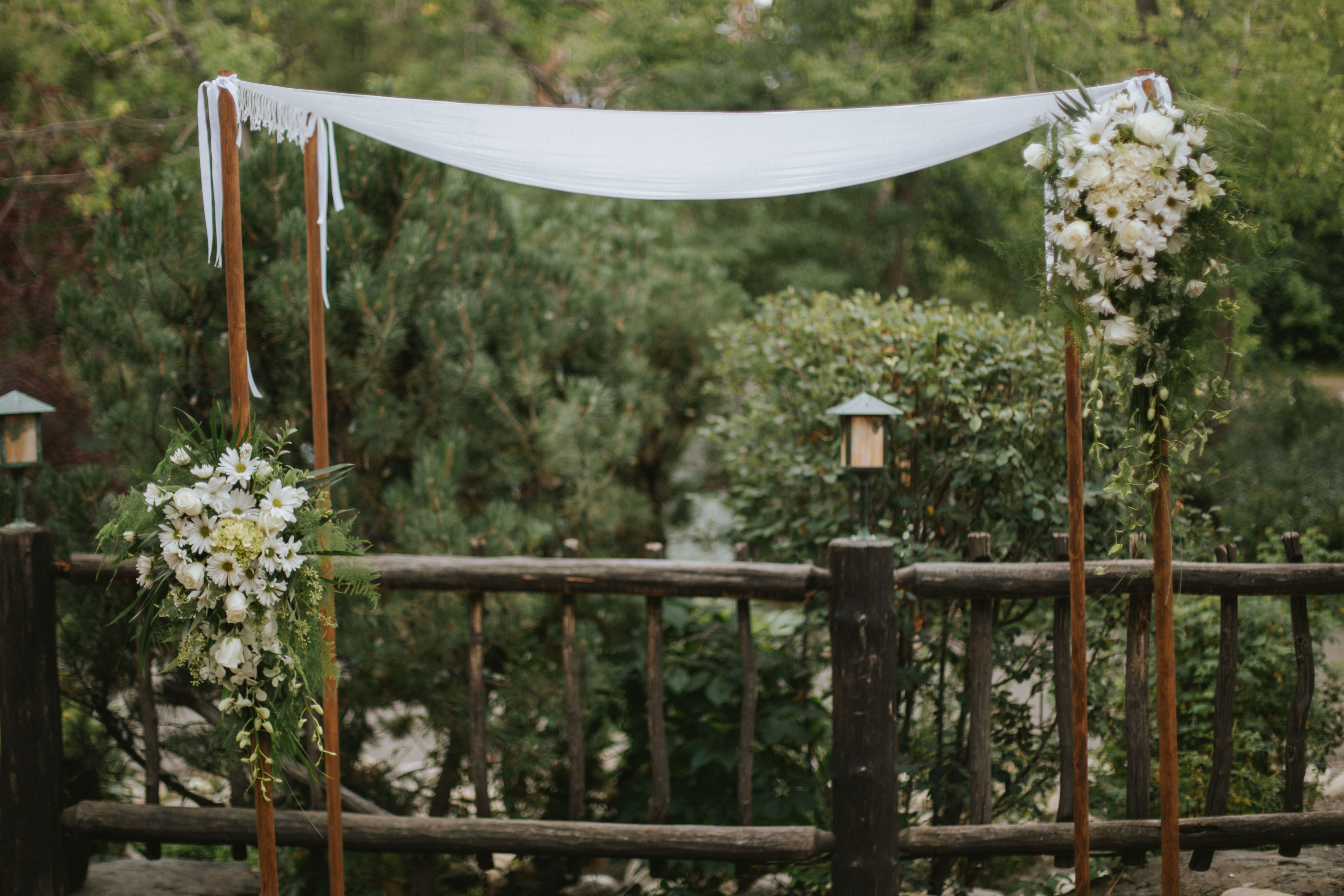 the ceremony decor on the river cafe patio