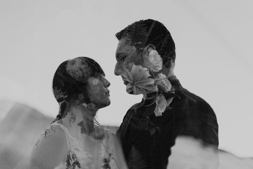 double exposure bride and groom