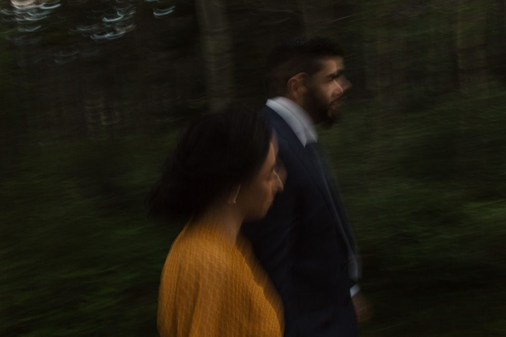 blurry photo of a couple walking