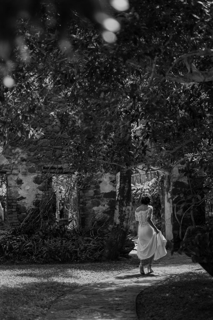 bride walks to the ceremony