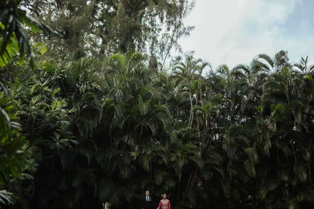 bride and groom stand against a wall of palms